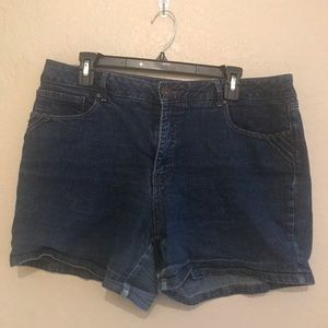 St John's Bay dark wash denim shorts